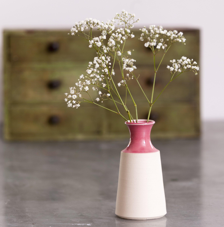 Ceramic flower vase small pink
